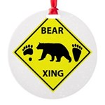 Bear and Tracks XING Round Ornament