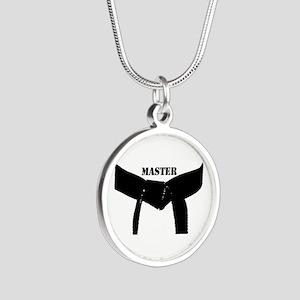 Martial Arts Black Belt Master Silver Necklace