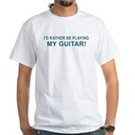 Playing Guitar White T-Shirt
