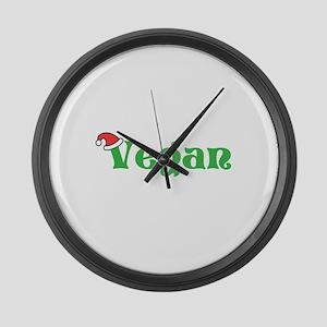 Vegan at Christmas. Large Wall Clock