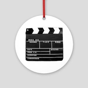 Movie Video production Clapper boar Round Ornament