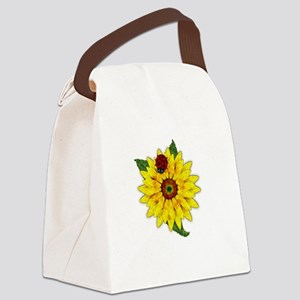 Mosaic Sunflower with Lady Bug Canvas Lunch Bag