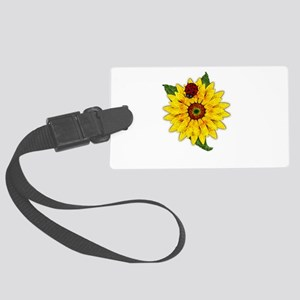 Mosaic Sunflower with Lady Bug Large Luggage Tag