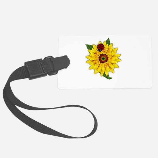 Mosaic Sunflower with Lady Bug Luggage Tag