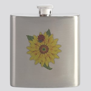 Mosaic Sunflower with Lady Bug Flask