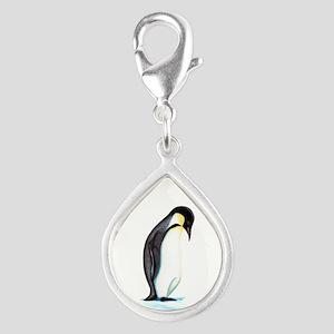 Emperor Penguin Silver Teardrop Charm