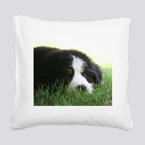 Bernese Puppy Square Canvas Pillow
