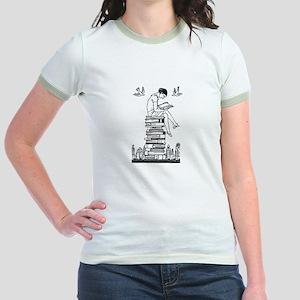 Reading Girl atop books Jr. Ringer T-Shirt
