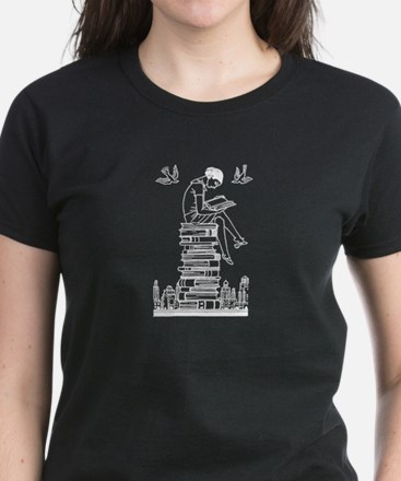 Reading Girl atop books Women's Dark T-Shirt