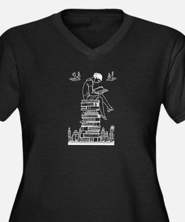 Reading Girl atop books Women's Plus Size V-Neck D