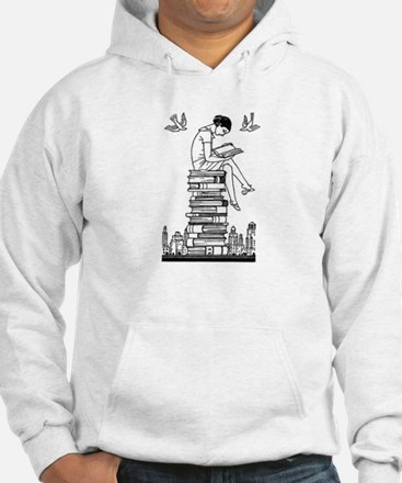 Reading Girl atop books Jumper Hoody