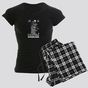 Reading Girl atop books Women's Dark Pajamas