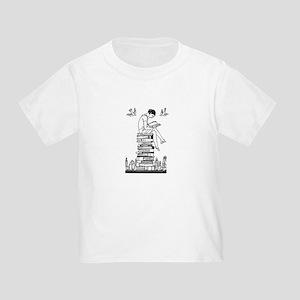 Reading Girl atop books Toddler T-Shirt