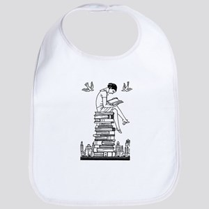 Reading Girl atop books Bib