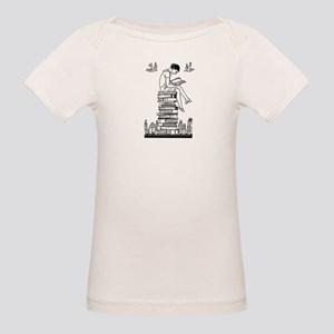 Reading Girl atop books Organic Baby T-Shirt