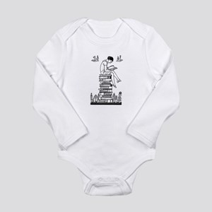 Reading Girl atop books Long Sleeve Infant Bodysui