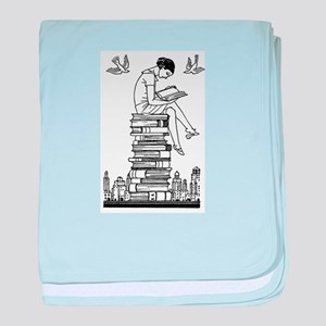 Reading Girl atop books baby blanket