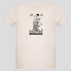 Reading Girl atop books Organic Kids T-Shirt