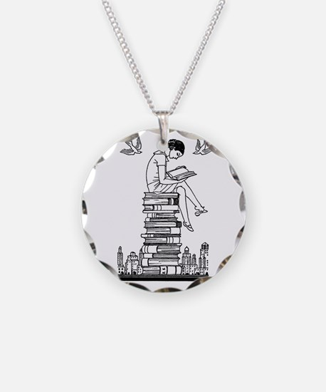 Reading Girl atop books Necklace Circle Charm