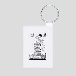 Reading Girl atop books Aluminum Photo Keychain