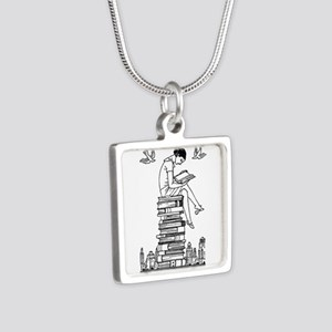 Reading Girl atop books Silver Square Necklace