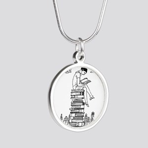 Reading Girl atop books Silver Round Necklace
