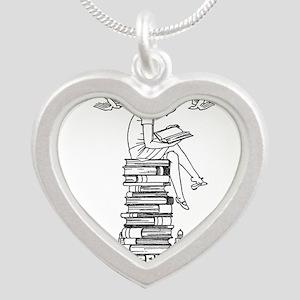 Reading Girl atop books Silver Heart Necklace