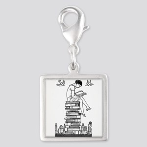 Reading Girl atop books Silver Square Charm