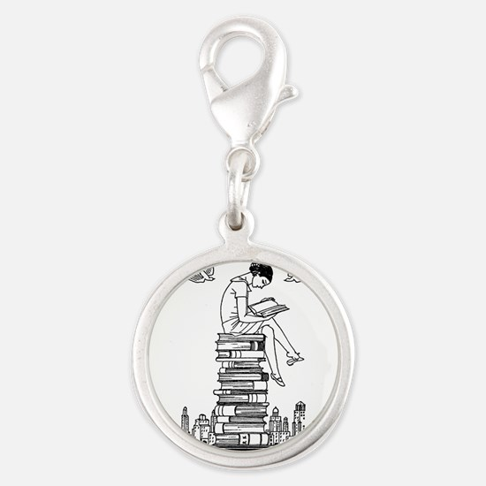 Reading Girl atop books Silver Round Charm