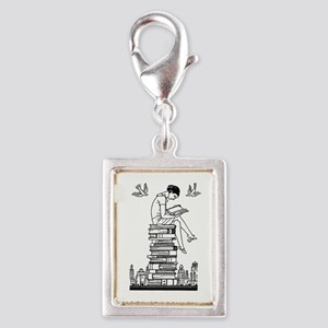 Reading Girl atop books Silver Portrait Charm