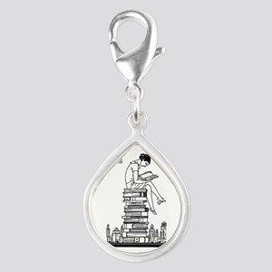 Reading Girl atop books Silver Teardrop Charm