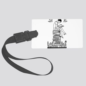 Reading Girl atop books Large Luggage Tag