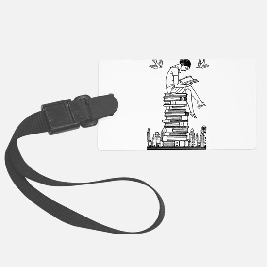 Reading Girl atop books Luggage Tag