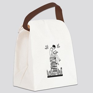 Reading Girl atop books Canvas Lunch Bag
