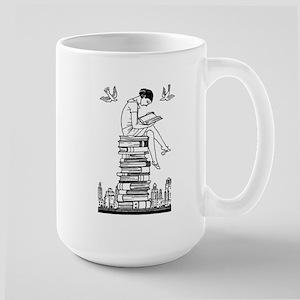 Reading Girl atop books Large Mug