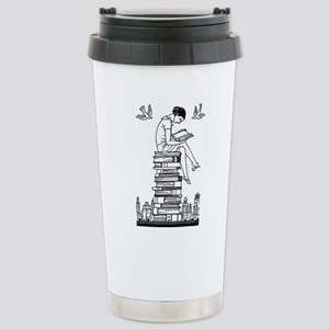 Reading Girl atop books Stainless Steel Travel Mug