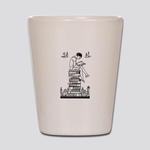 Reading Girl atop books Shot Glass