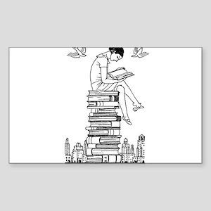 Reading Girl atop books Sticker (Rectangle)