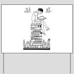 Reading Girl atop books Yard Sign