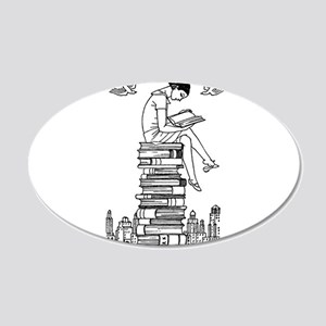 Reading Girl atop books 20x12 Oval Wall Decal
