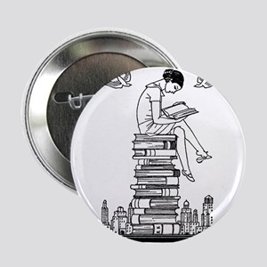 "Reading Girl atop books 2.25"" Button"