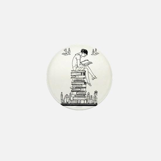 Reading Girl atop books Mini Button