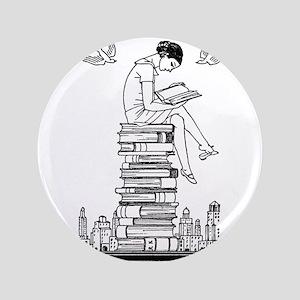 """Reading Girl atop books 3.5"""" Button"""