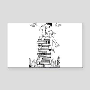 Reading Girl atop books Rectangle Car Magnet