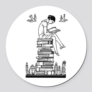 Reading Girl atop books Round Car Magnet