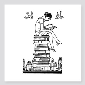 """Reading Girl atop books Square Car Magnet 3"""" x 3"""""""
