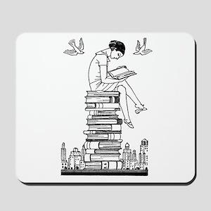 Reading Girl atop books Mousepad