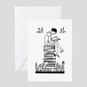 Reading Girl atop books Greeting Card