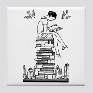 Reading Girl atop books Tile Coaster