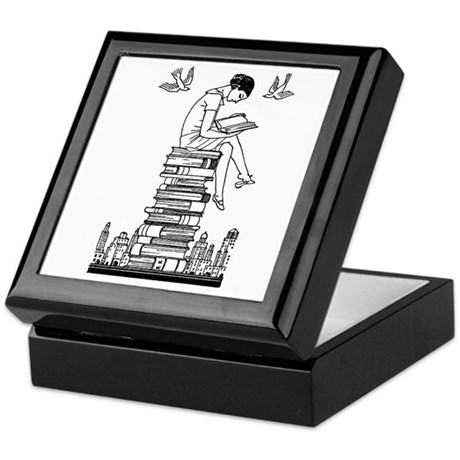 Reading Girl atop books Keepsake Box